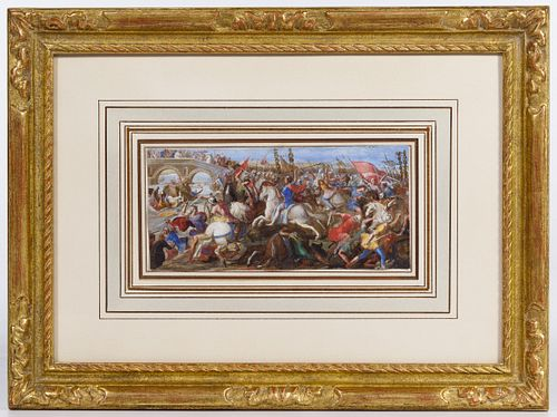 Francesco Allegrini (Italian, 1624-c.1680) 'The Battle of the Milvian Bridge' Gouache on Vellum