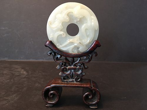 "ANTIQUE Chinese White Jade Round Dragonand RUYI Screen on Frame, Ming. 2 1/2"" diameter"