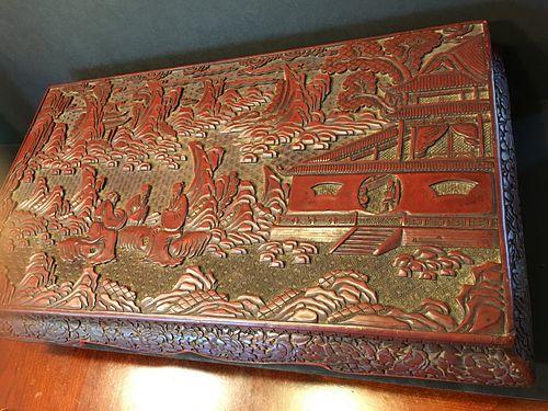 "ANTIQUE rare cinnabar wood low table, Qing period. 21 1/2"" x 12 1/2"" x 5 1/4"" high"