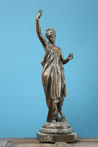 ALBERT ERNEST CARRIER-BELLEUSE (FRENCH, 1824-1887), A LARGE BRONZE OF A CLA