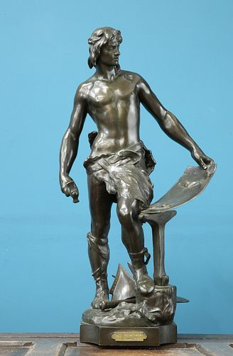 "A. MASJOUILLE (FRENCH, 19th CENTURY), ""LE TRAVAIL"", A PATINATED BRONZE FIGU"