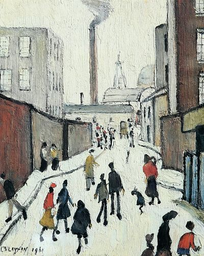 LAURENCE STEPHEN LOWRY (1887-1976), STREET SCENE WITH FIGURES, signed in pe