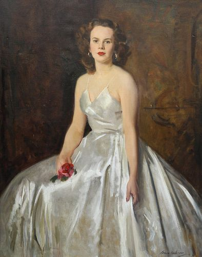 DAVID COWAN DOBSON (1894-1980), PORTRAIT OF LADY HOLDING A RED ROSE, signed