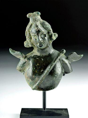 Roman Bronze Bust of Mercury