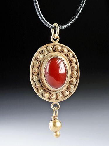 Sasanian Gilded Silver Pendant w/ Cabochon Garnet