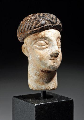 Bactrian Limestone Idol Head w/ Chlorite Cap