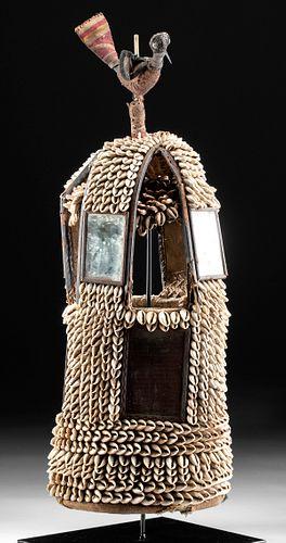 Early 20th C. Yoruba Shell, Mirror, & Textile Ile Ore