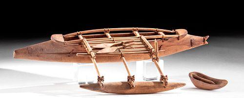 Late 19th C. Hawaiian Wood Outrigger Canoe Model