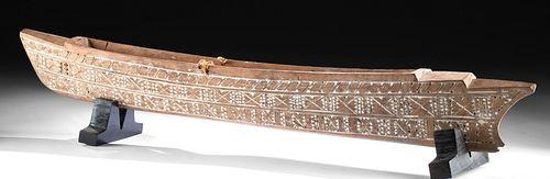 19th C. Samoan Wood Outrigger Canoe Model
