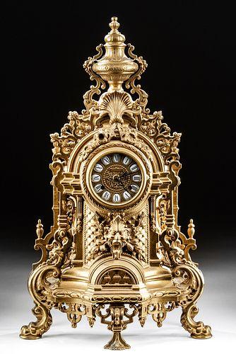 20th C. German Imperial Brass Mantle Clock