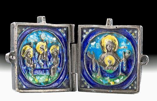 19th C. Russian Enamel Silver Icon, Virgin Orans