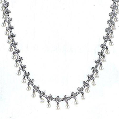 Tiffany & Co. Lace Diamond Pearl Drop Collar