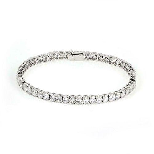 18K Oval Solitaires Diamond Tennis Bracelet
