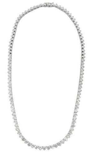 18K 14.78ct Diamond Tennis Necklace