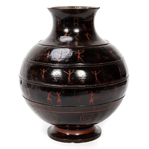 RARE WESTERN HAN DYNASTY LACQUERED POTTERY JAR