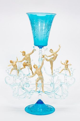 """LUCIO BUBACCO """"CHEERS"""" INTAGLIO EROTIC ART GLASS"""