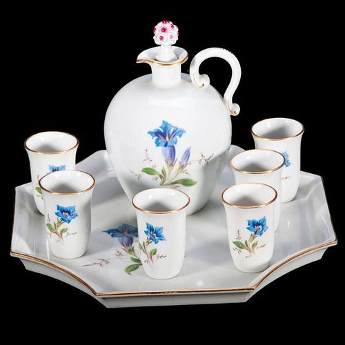 Meissen Wine Set with Tray and Six Individual Cups