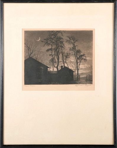 Three landscape lithographs.