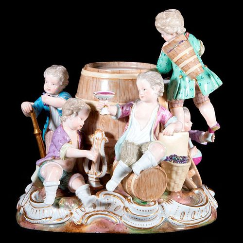 Meissen porcelain group of boys.