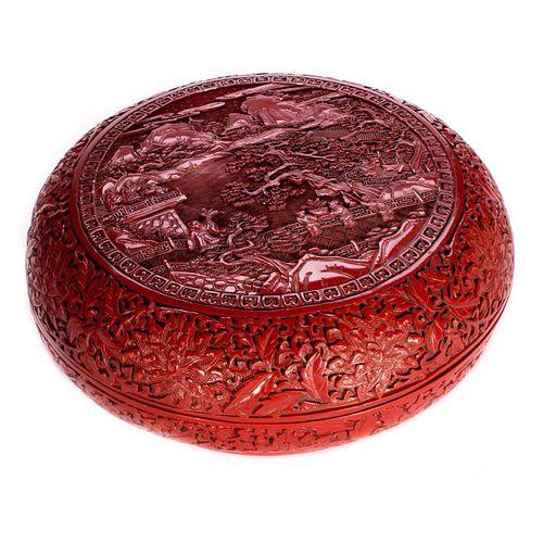 A Chinese cinnabar box.