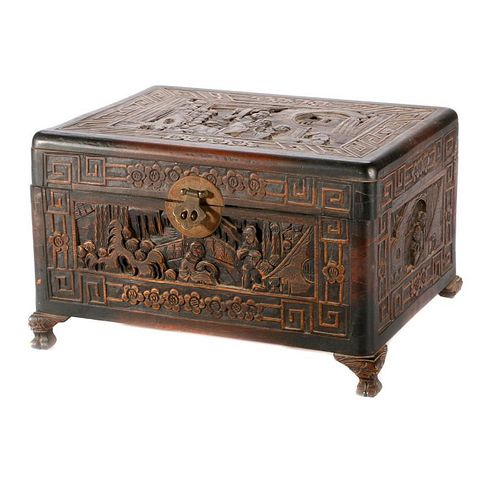 A Chinese carved wood box.