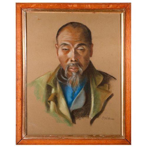 Vintage Asian portrait of an elder.