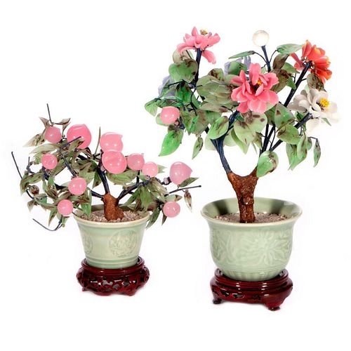 Two Chinese hardstone trees.