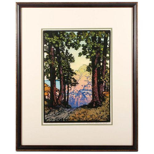 Frances Hammell Gearhart (1869 - 1958) woodblock print