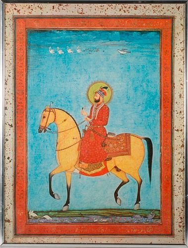 A Mughal painting and 20th century lithograph.