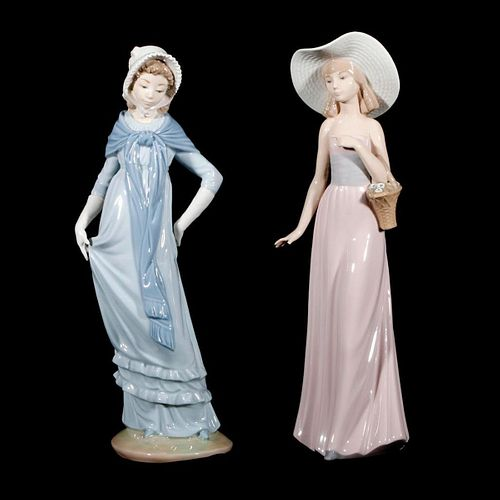 Two Lladro porcelain maidens.