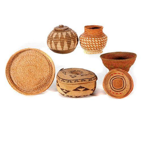 Six Native American baskets.