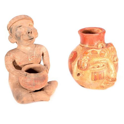 Two Pre-Columbian style pottery pieces.