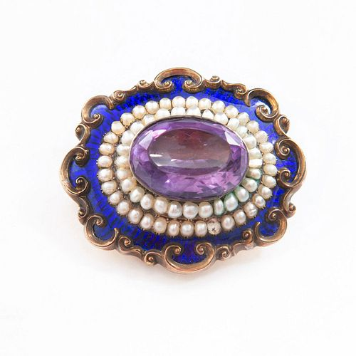 VICTORIAN JEWELRY GOLD, PEARLS, AMETHYST PIN PENDANT