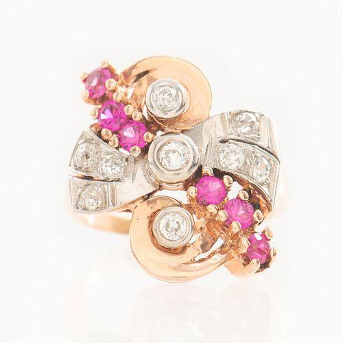 WORLD WAR II 1940s ROSE GOLD, RUBIES AND DIAMONDS RING