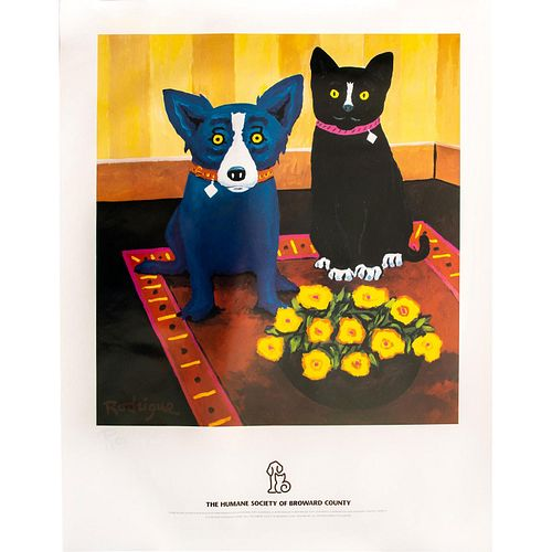 GEORGE RODRIGUE HUMANE SOCIETY POSTER, BLUE DOG AND CAT