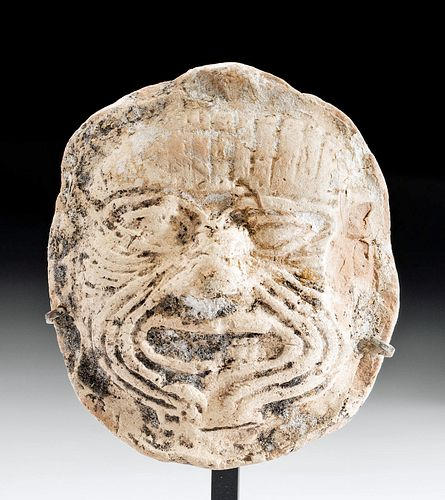Fine Babylonian Terracotta Portrait Plaque of Humbaba