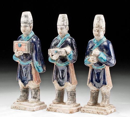 3 Chinese Ming Dynasty Glazed Terracotta Attendants
