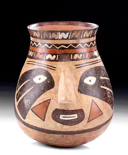 Large Nazca Polychrome Portrait Vessel