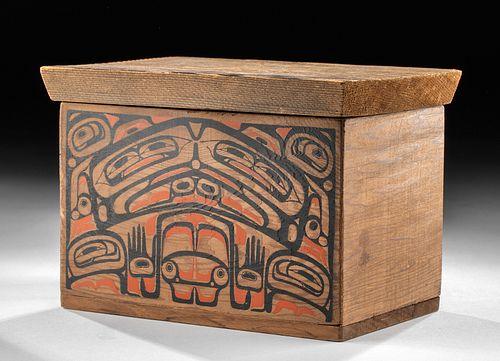 20th C. Pacific Northwest Coast Painted Cedar Box - LVL