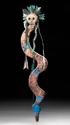 20th C. Mexican Painted Wood Snake w/ Skull Headdress