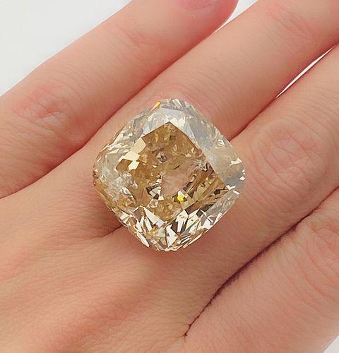 GIA CERTIFIED , NATURAL , FANCY BROWNISH YELLOW , 55.85 TCW CUSHION CUT DIAMOND
