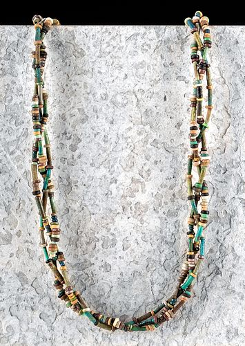 Egyptian Faience Beaded Necklace - 3 Braided Strands