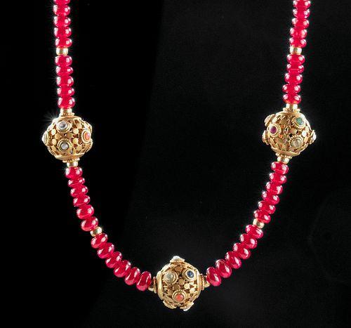 Mughal 18K+ Gold & Ruby, Diamond, Emerald Necklace