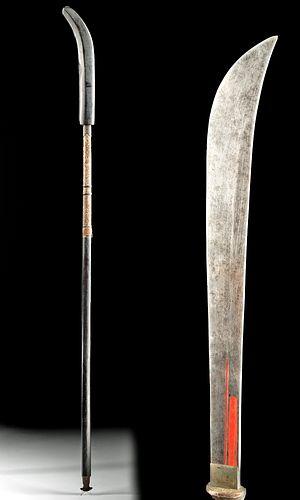 Japanese Edo Wood, Iron, Steel & Nacre Naginata