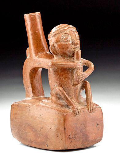 Fascinating Inca Pottery Jar - Man w/ Flute