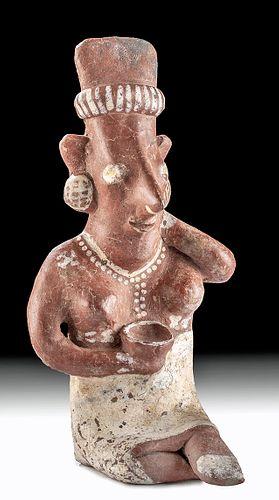 Jalisco Pottery Seated Female Sheepface Figure