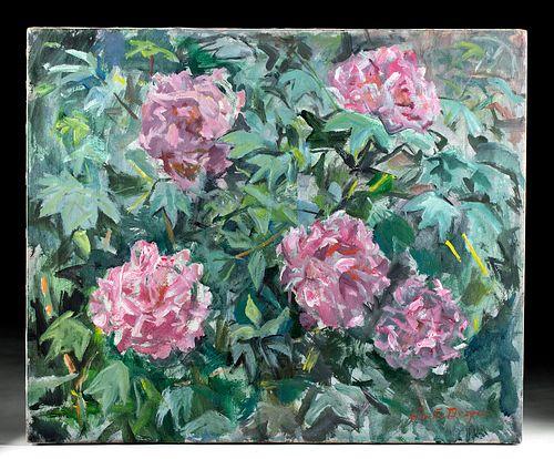 Signed William Draper Painting - Pink Peonies, 1980s
