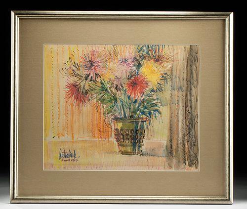 Framed Hutsaliuk Watercolor - Floral Still Life , 1967
