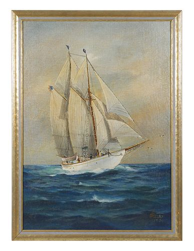 JOE SELBY, Oil on Board Yacht Painting
