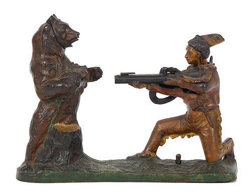 INDIAN SHOOTING BEAR Mechanical Cast Iron Bank